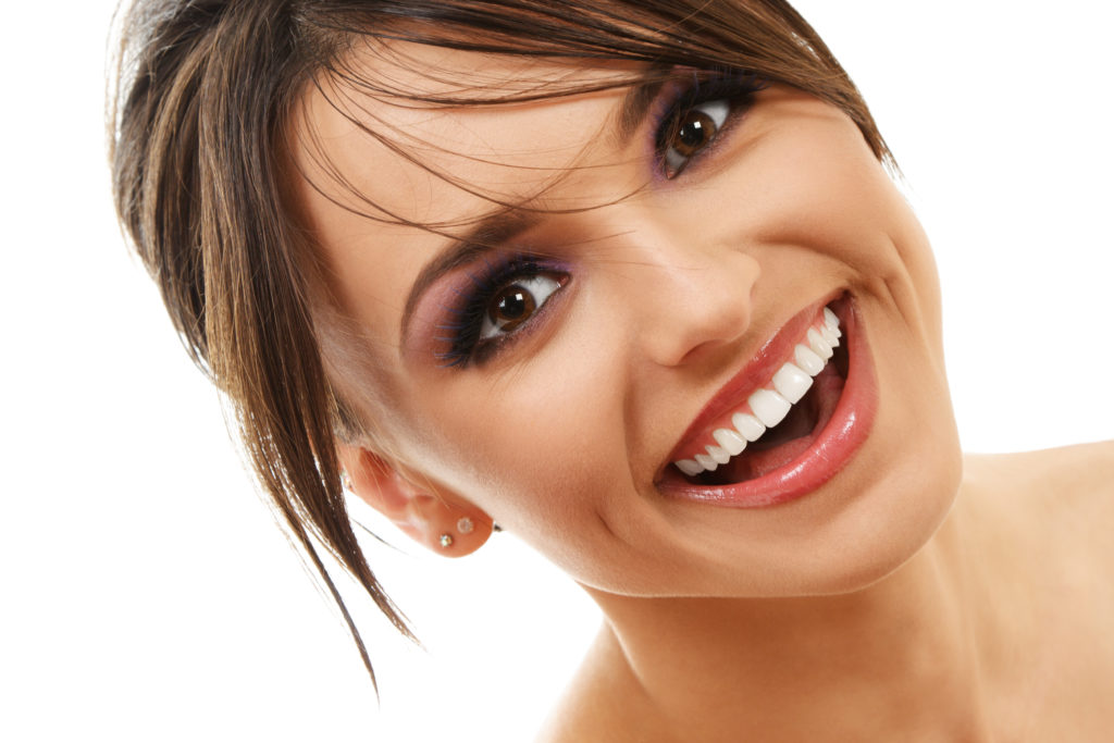 gorgeous woman smiling bright white teeth