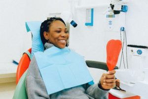Woman having a dental checkup in Virginia Beach.