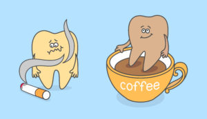 cartoon teeth discoloration with smoking and coffee